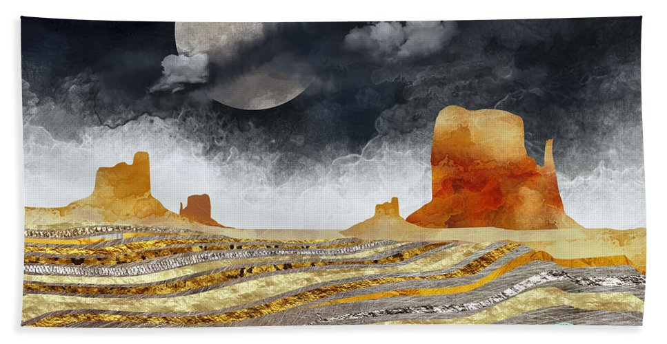 Desert Hand Towel featuring the digital art Metallic Desert by Spacefrog Designs