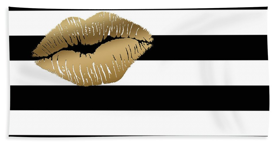 Metallic Gold Lips Black And White Stripes Bath Towel For Sale By