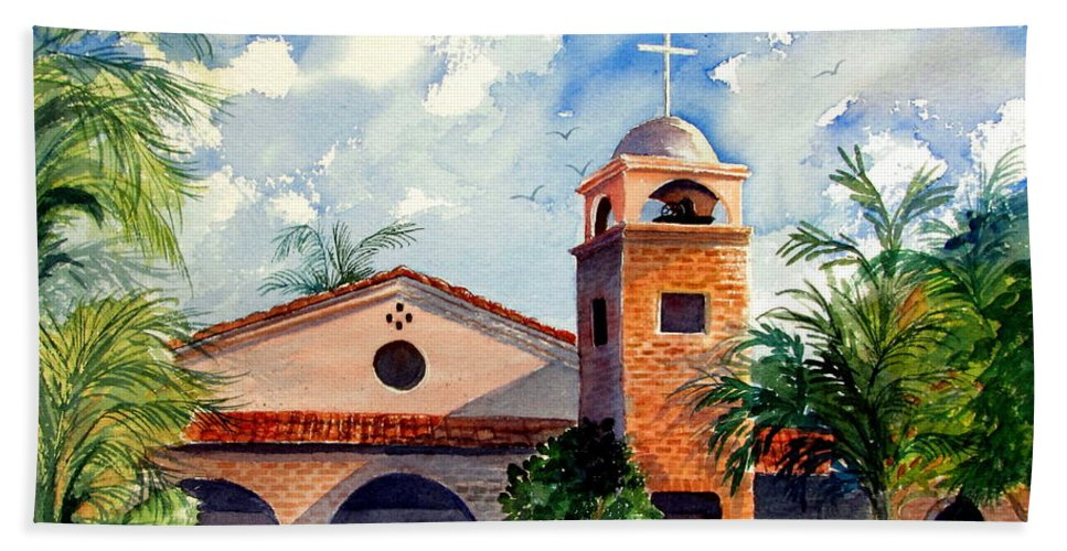 Church Hand Towel featuring the painting Methodist Church Gilbert Az by Marilyn Smith