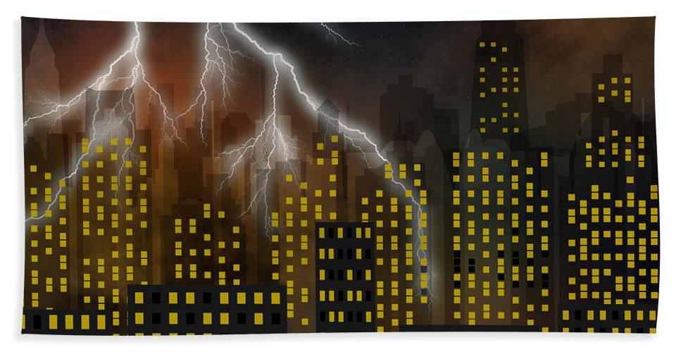 City Bath Sheet featuring the digital art Metropolis At Stormy Night by Michal Boubin