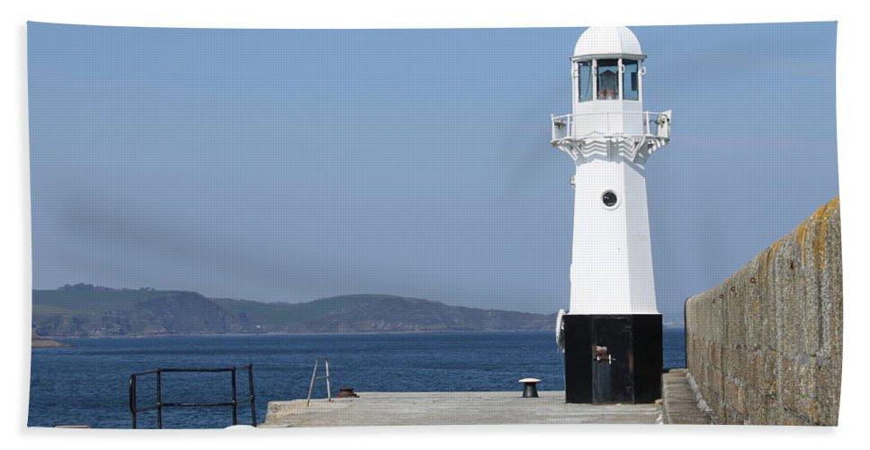 Mevagissey Bath Sheet featuring the photograph Mevagissey Lighthouse by Lauri Novak