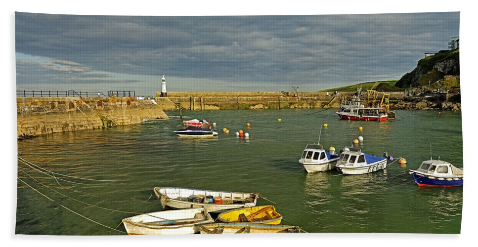 Britain Hand Towel featuring the photograph Mevagissey Outer Harbour by Rod Johnson