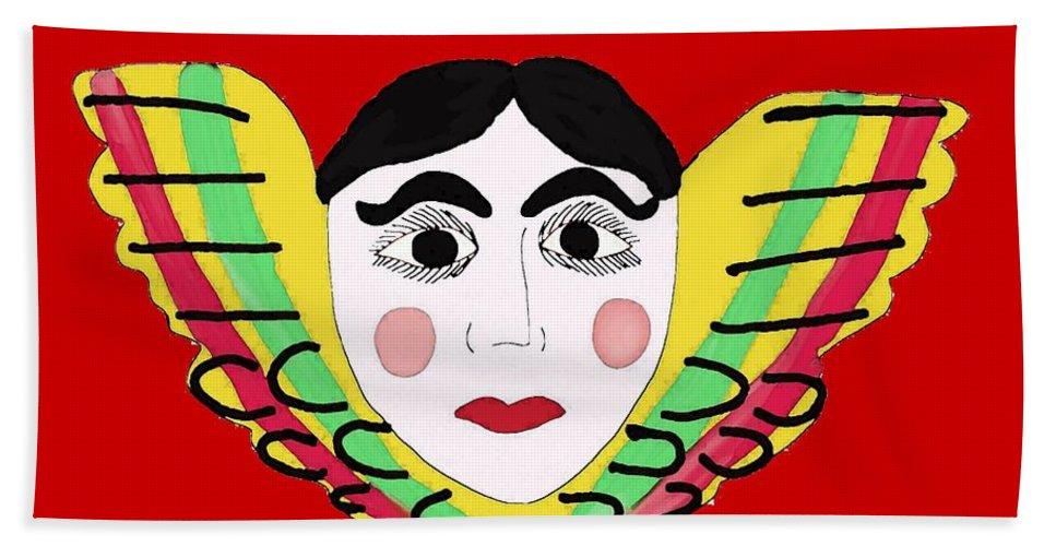 Mexican Cherub Bath Sheet featuring the painting Mexican Cherub by Priscilla Wolfe