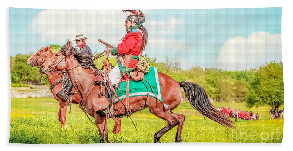 Horse Soldiers Bath Sheet featuring the mixed media Mexican Horse Soldiers by Kim Henderson