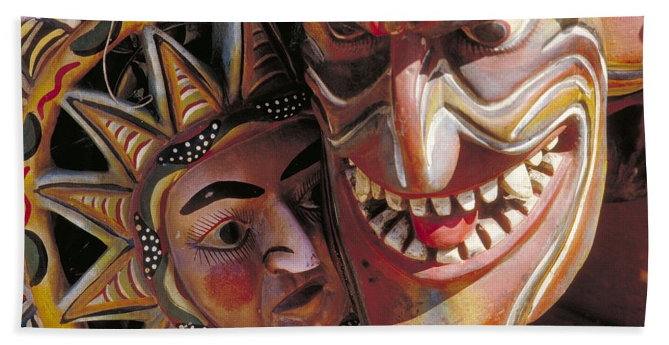 Color Bath Sheet featuring the photograph Mexican Masks by Jerry McElroy