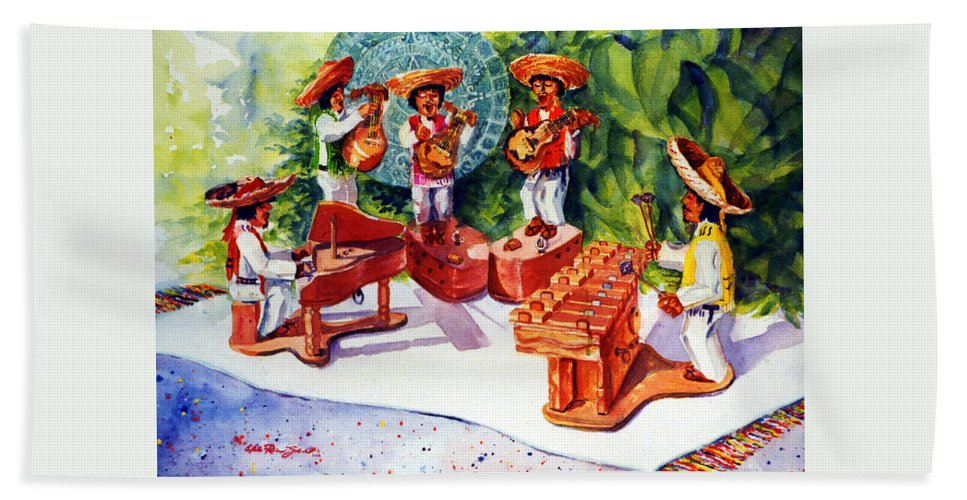 Mexico Painting Hand Towel featuring the painting Mexico Mariachis by Estela Robles
