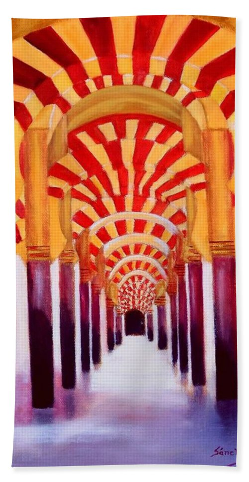 Monument Hand Towel featuring the painting Mezquita De Cordoba by Manuel Sanchez