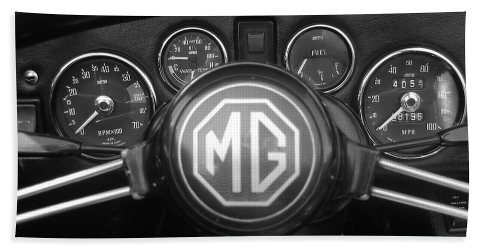 Mg Midget Bath Sheet featuring the photograph Mg Midget Dashboard by Neil Zimmerman