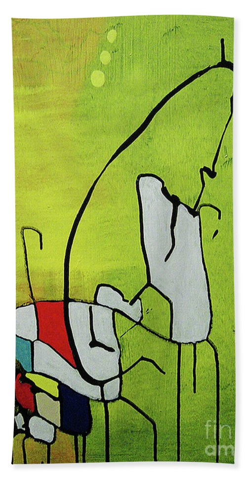 Abstract Bath Sheet featuring the painting Mi Caballo by Jeff Barrett