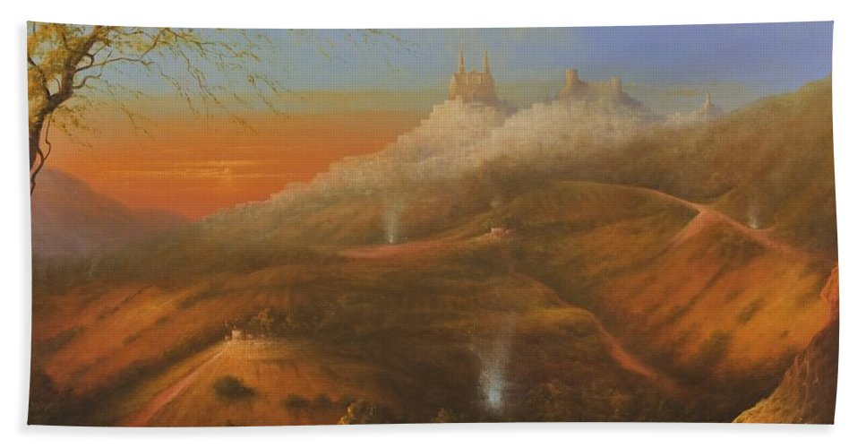 Original Fine Art Bath Sheet featuring the painting Mi Pueblo Blanco Olvera by Ray Gilronan