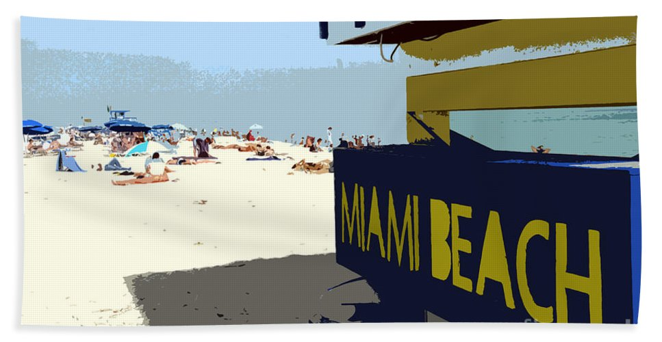 Miami Beach Florida Hand Towel featuring the photograph Miami Beach Work Number 1 by David Lee Thompson