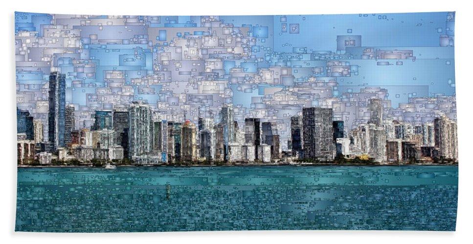 Rafael Salazar Hand Towel featuring the digital art Miami, Florida by Rafael Salazar