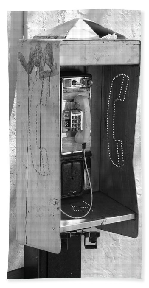 Pop Art Hand Towel featuring the photograph Miami Pay Phone by Rob Hans