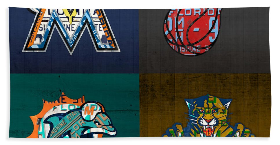 Miami Bath Sheet featuring the mixed media Miami Sports Fan Recycled Vintage Florida License Plate Art Marlins Heat Dolphins Panthers by Design Turnpike