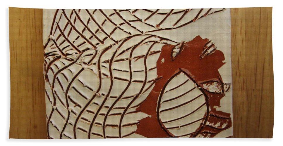 Jesus Hand Towel featuring the ceramic art Mica - Tile by Gloria Ssali
