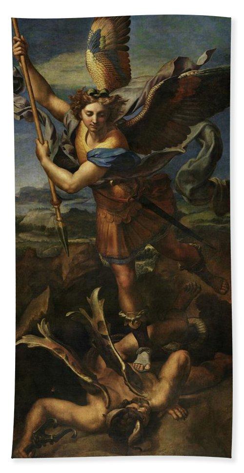 Urbino Hand Towel featuring the painting Michael Defeats Satan by Raphael
