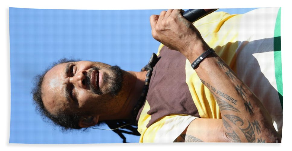 Acousic Bath Sheet featuring the photograph Musician Michael Franti by Concert Photos