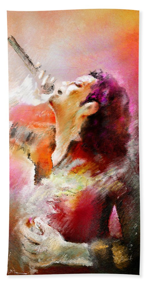 Music Hand Towel featuring the painting Michael Jackson 05 by Miki De Goodaboom
