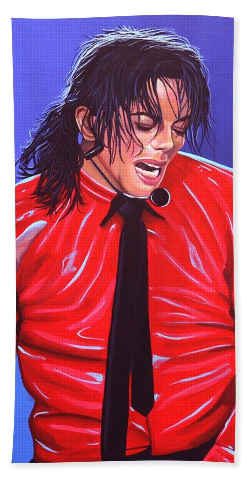 Michael Jackson Bath Towel featuring the painting Michael Jackson 2 by Paul Meijering