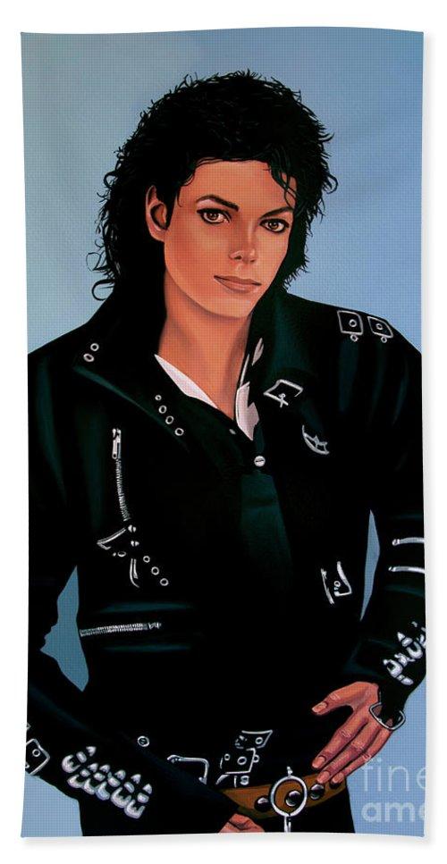 Michael Jackson Bath Towel featuring the painting Michael Jackson Bad by Paul Meijering
