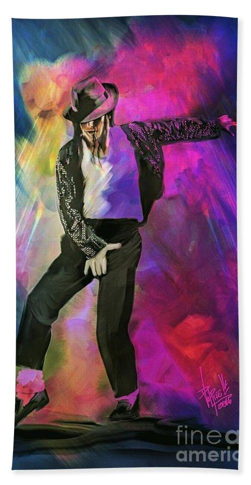 Portrait Bath Sheet featuring the digital art Michael Jackson by Daniele Volpicelli