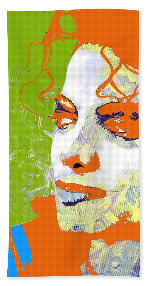 Michael Bath Sheet featuring the digital art Michael Jackson Green And Orange by Linda Mears