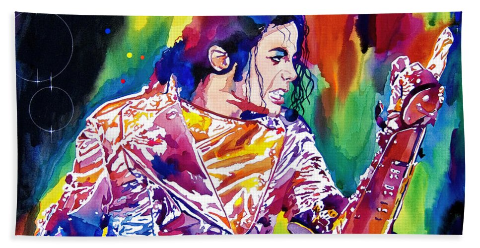 Michael Jackson Bath Towel featuring the painting Michael Jackson Showstopper by David Lloyd Glover