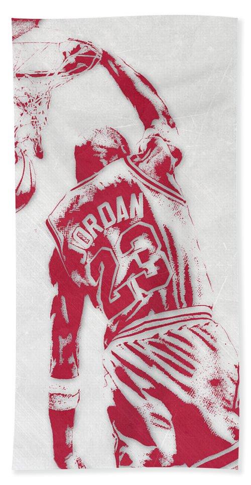98f3965b8c3 Michael Jordan Bath Towel featuring the mixed media Michael Jordan Chicago  Bulls Pixel Art 1 by