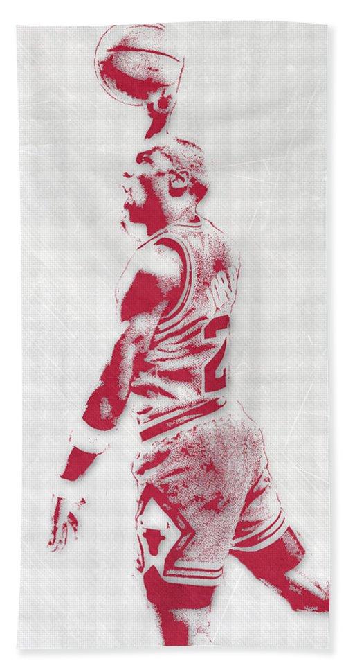 2b3c454574b Michael Jordan Bath Towel featuring the mixed media Michael Jordan Chicago  Bulls Pixel Art 3 by
