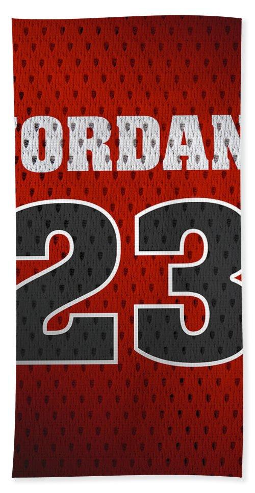 7090d3aea0f Michael Jordan Bath Towel featuring the mixed media Michael Jordan Chicago  Bulls Retro Vintage Jersey Closeup