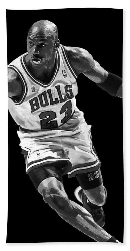 michael Jordan Hand Towel featuring the digital art Michael Jordan Drives To The Basket by Daniel Hagerman