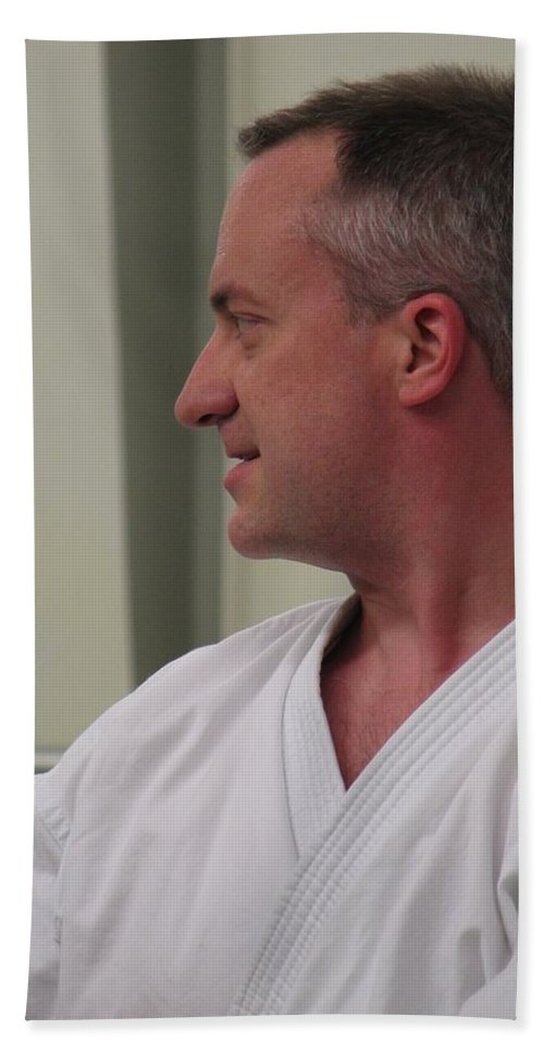 Karate Bath Sheet featuring the photograph Michael by Kelly Mezzapelle