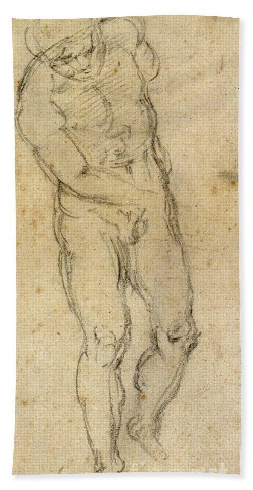1560 Hand Towel featuring the painting Michelangelo: Male Nude by Granger
