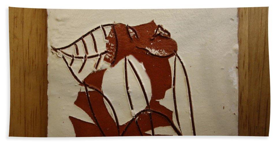 Jesus Bath Sheet featuring the ceramic art Michelle - Tile by Gloria Ssali