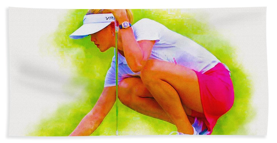 Art & Collectibles Hand Towel featuring the digital art Michelle Wie Of Usa Lined Her Ball by Don Kuing
