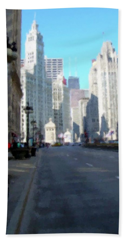 Chicago Bath Sheet featuring the digital art Michigan Ave Tall by Anita Burgermeister