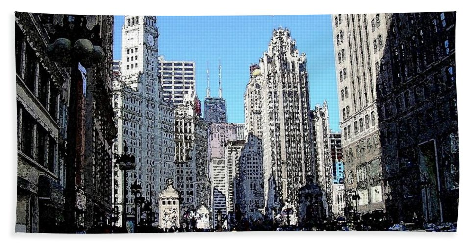 Chicago Bath Towel featuring the digital art Michigan Ave Wide by Anita Burgermeister