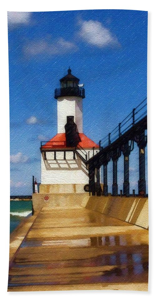Lighthouse Bath Towel featuring the photograph Michigan City Light 1 by Sandy MacGowan
