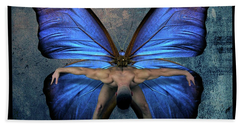 Male Nude Bath Towel featuring the photograph Mick Blue by Mark Ashkenazi
