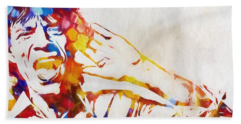The Rolling Stones Mick And Keith Hand Towel featuring the painting Mick Jagger Abstract by Dan Sproul