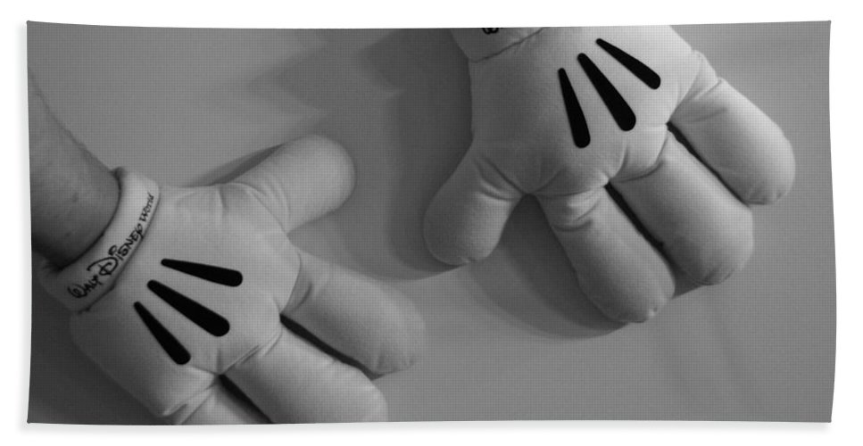 Black And White Bath Sheet featuring the photograph Mickeys Hands by Rob Hans