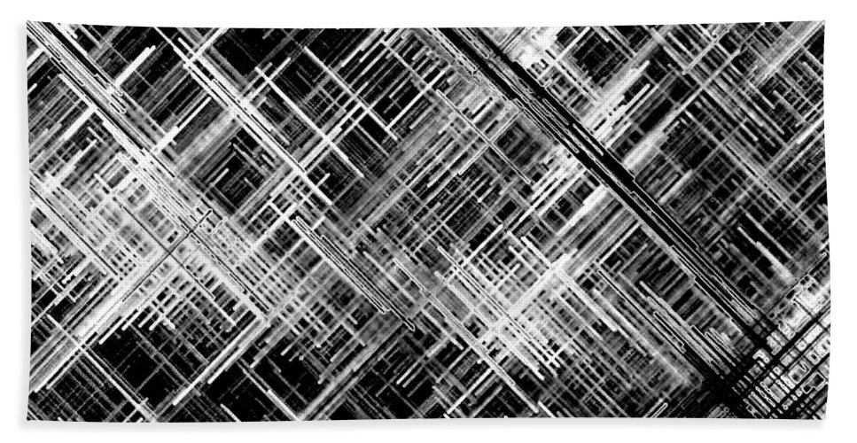 Black And White Hand Towel featuring the digital art Micro Linear Black And White by Will Borden
