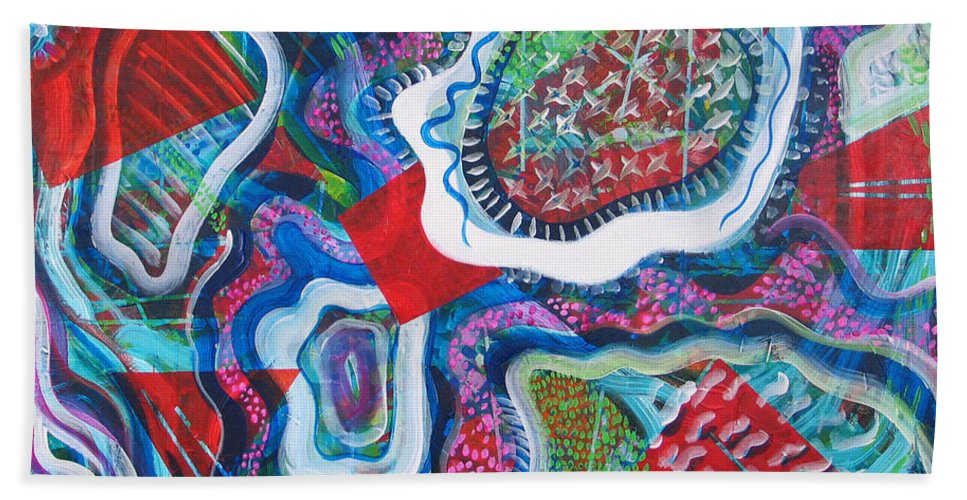 Abstract Bath Towel featuring the painting Microcosm IX by Rollin Kocsis