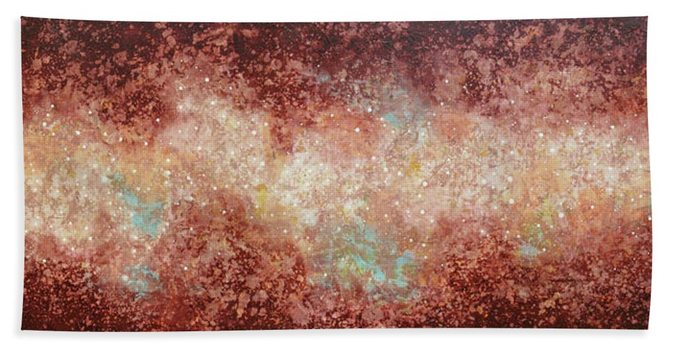 Large Abstract Bath Towel featuring the painting Microcosm by Jaison Cianelli
