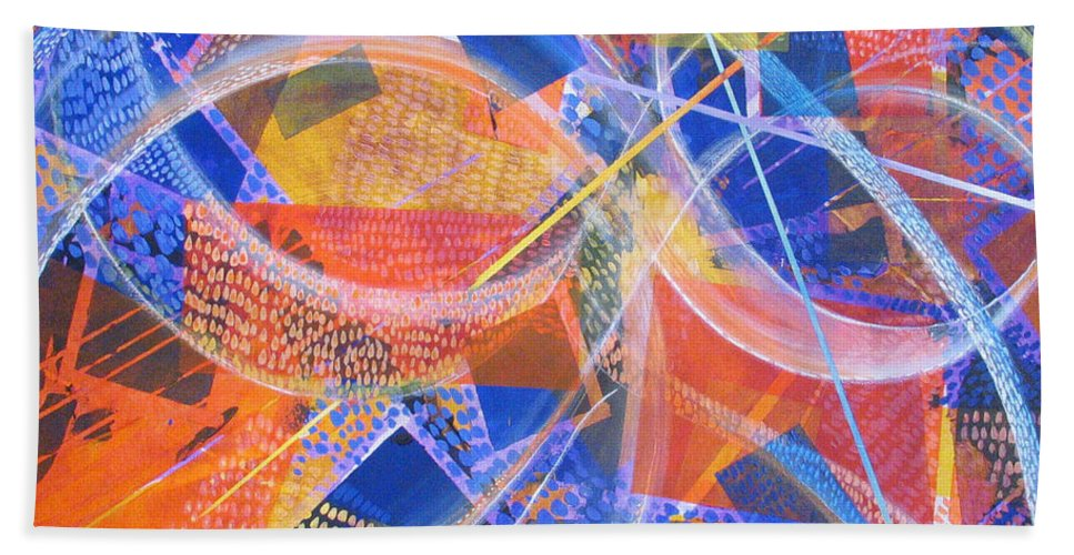 Non-representational Bath Towel featuring the painting Microcosm XIII by Rollin Kocsis