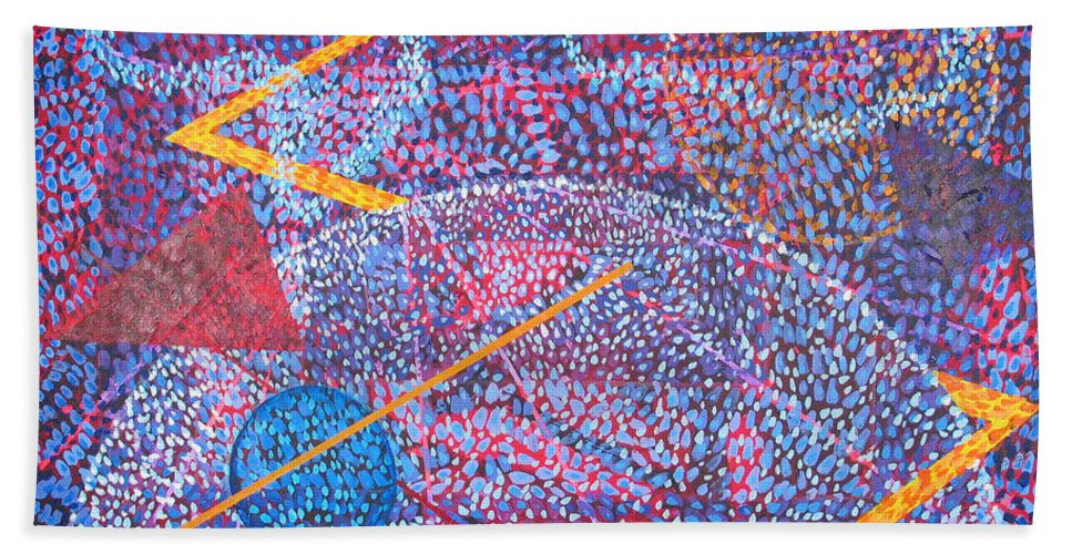 Abstract Bath Towel featuring the painting Microcosm XV by Rollin Kocsis
