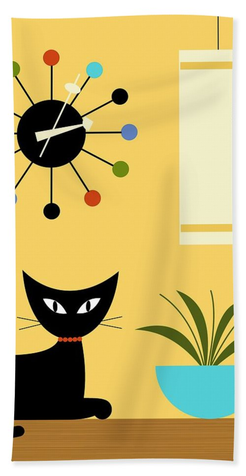 Hand Towel featuring the digital art Mid Century Ball Clock 3 by Donna Mibus