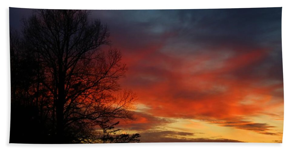 Sky Hand Towel featuring the photograph Mid-january Sunset by Kathryn Meyer