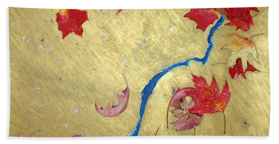 Abstract Hand Towel featuring the painting Midas Fall by Steve Karol