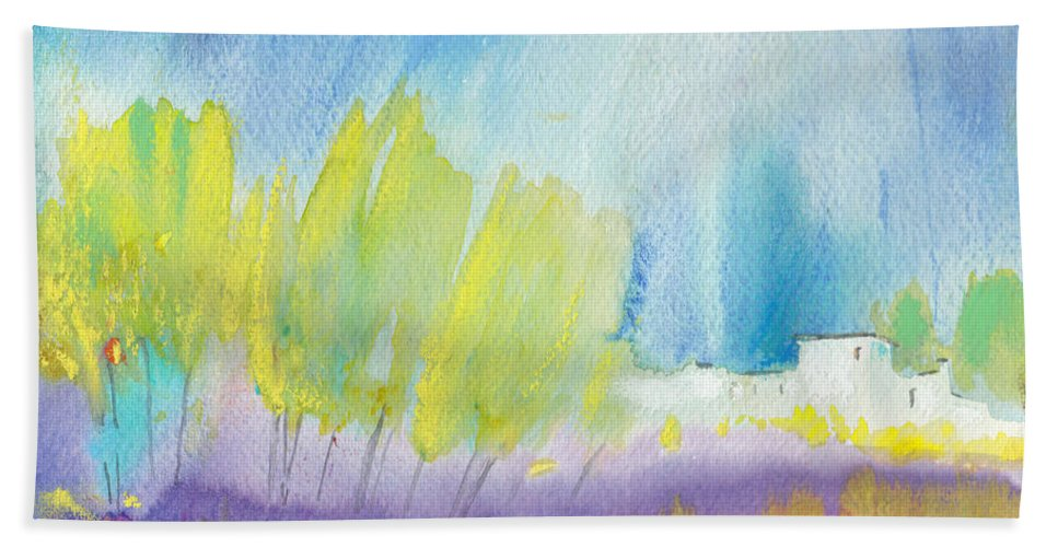 Watercolour Landscape Hand Towel featuring the painting Midday 08 by Miki De Goodaboom